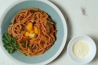 モチモチ太麺のマンゴーナポリタンスパゲッティ